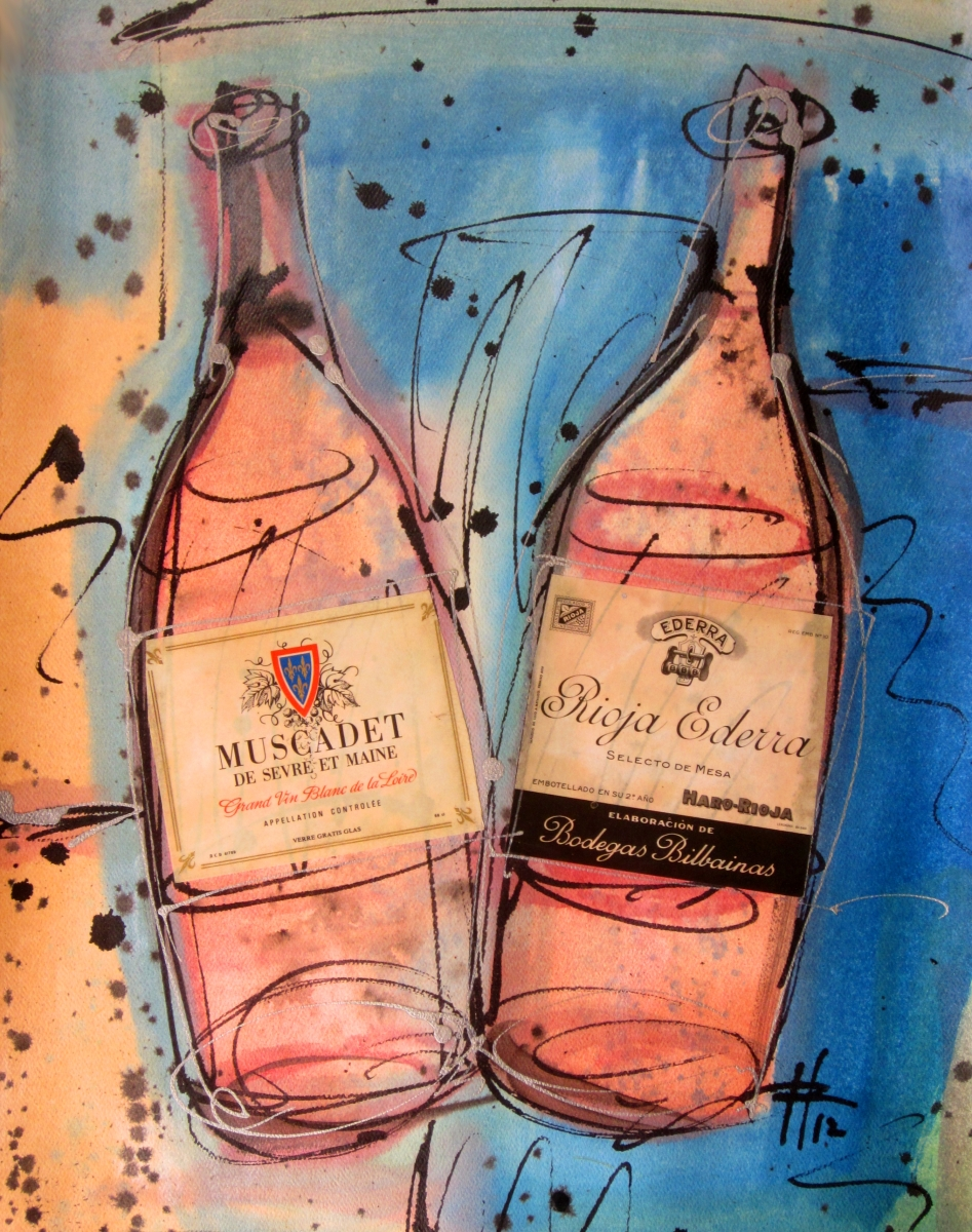 Muscadet Rioja Ederra 2012 Original Painting on Paper by Ryan Hopkins the Abstract Artist (large view)
