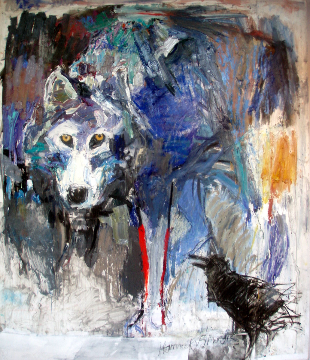 Wolf with Raven (large view)