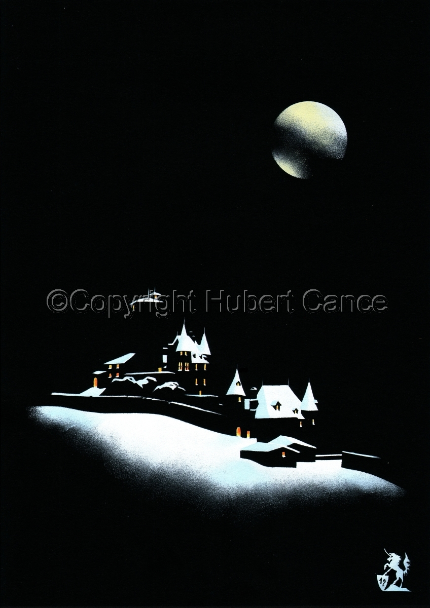 """""""Snowy Night at St.Etienne Castle"""" (large view)"""