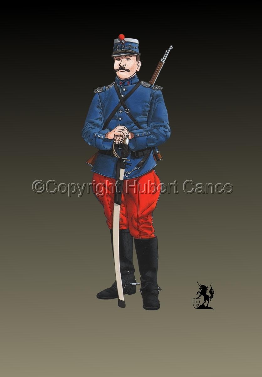 French Cavalryman, 7eme Regiment de Hussards, 1914 #2 (large view)