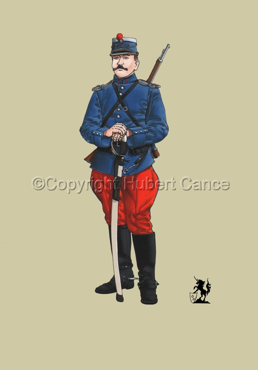 French Cavalryman, 7eme Regiment de Hussards, 1914 #1 (large view)