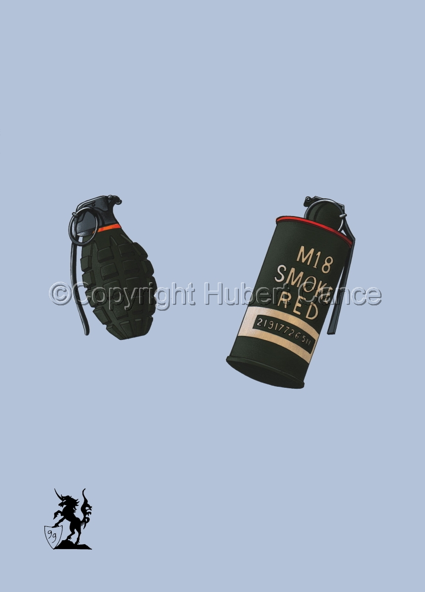 US Mk.II Defensive and US M18 Red Smoke Grenades #2 (large view)