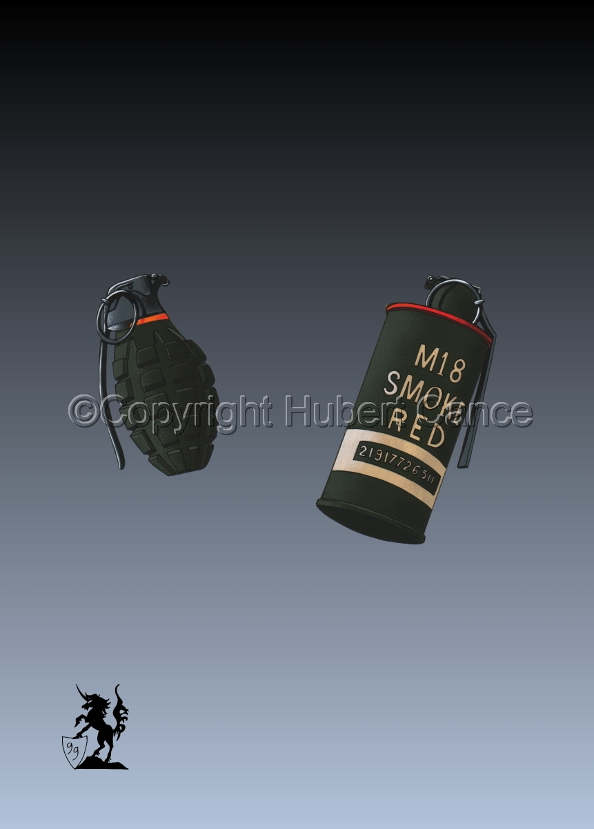 US Mk.II Defensive and US M18 Red Smoke Grenades #3 (large view)