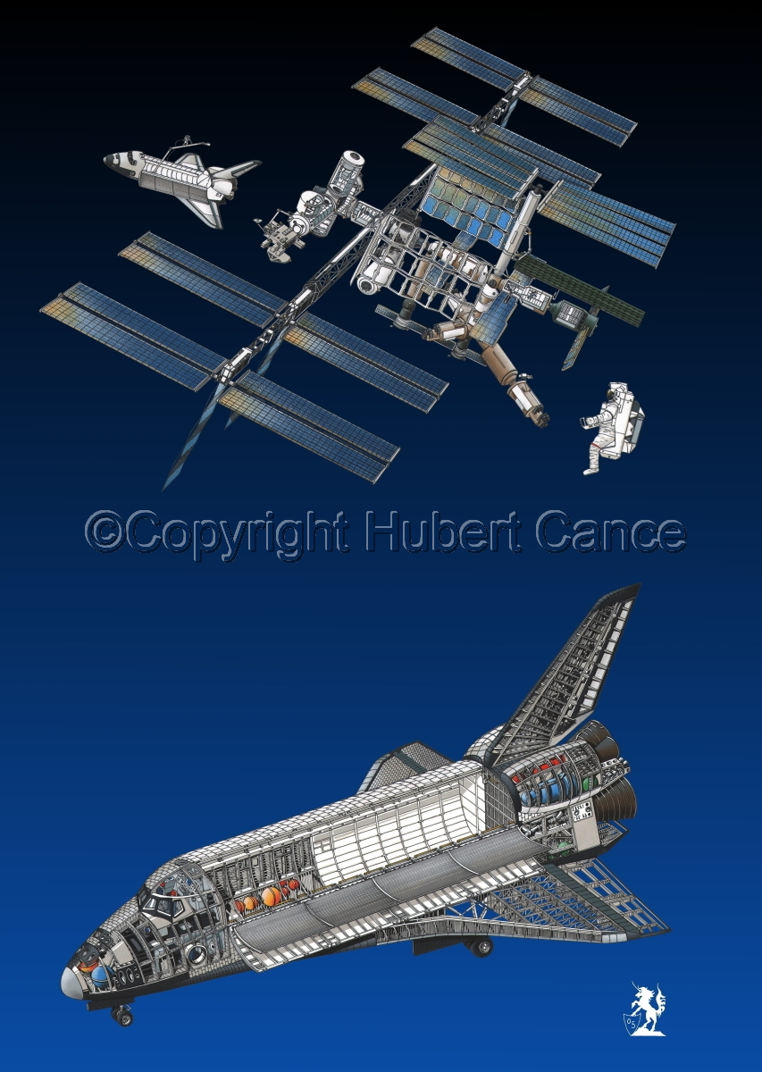 Rockwell Space Shuttle and ISS  (large view)
