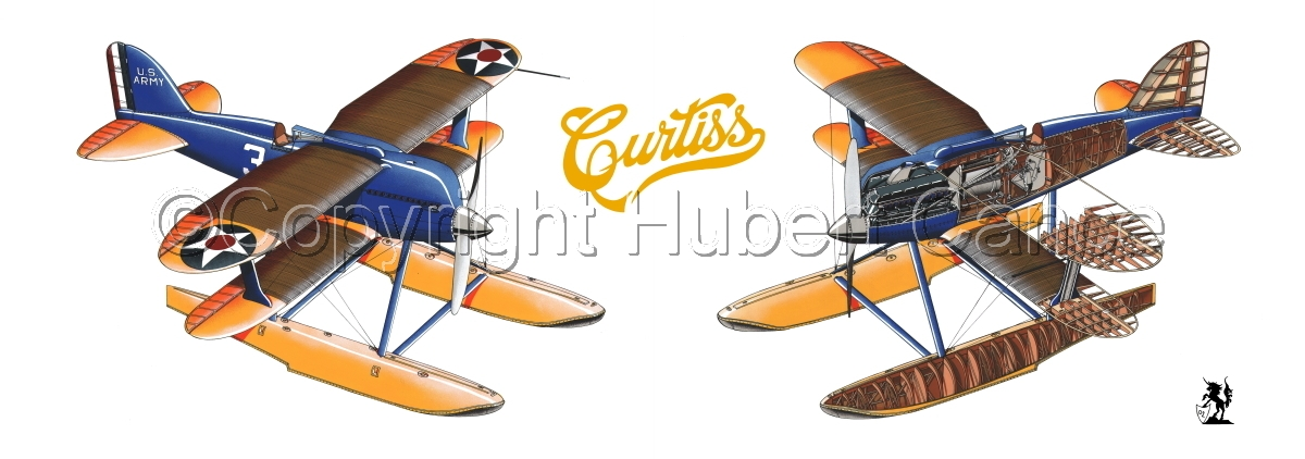 """""""Curtiss R3C2 Army Racer"""" Panoramic Logo #2 (large view)"""