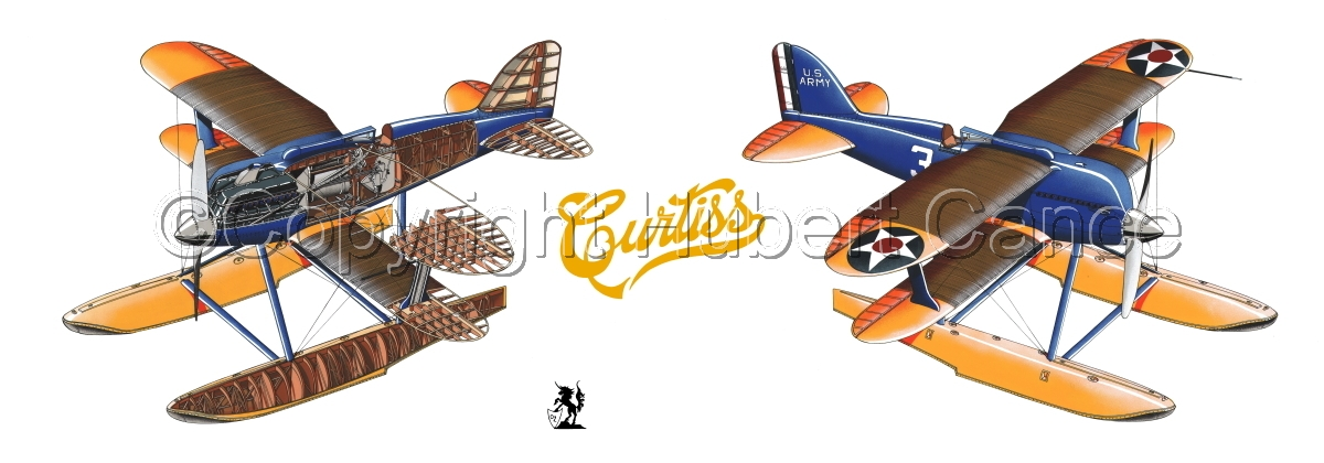 """""""Curtiss R3C2 Army Racer"""" Panoramic Logo #1 (large view)"""