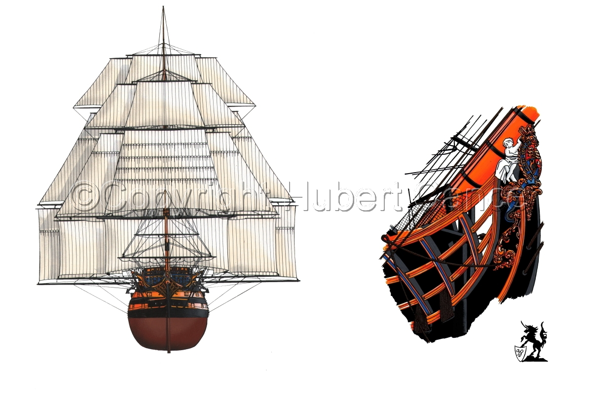 """""""HMS Victory"""" bows (large view)"""