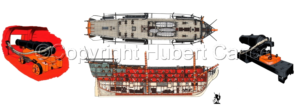 """HMS Victory"" Decks and guns. (large view)"