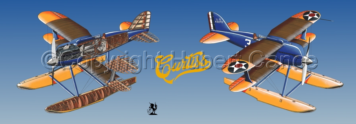 """""""Curtiss R3C2 Army Racer"""" Panoramic Logo #1.2 (large view)"""