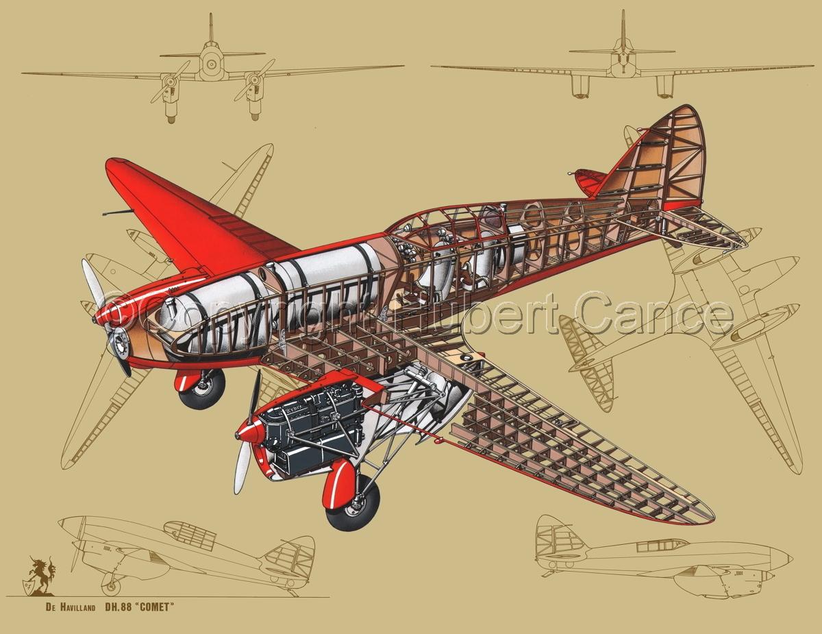 """De Havilland DH.88 """"Comet"""" Racer (Blueprint #3) (large view)"""