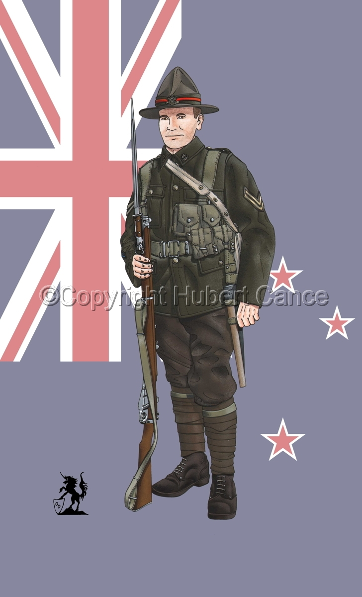Corporal, 6th. (Hauraki) Infantry Regiment, New Zealand Rifles, France (1917) (Flag #2) (large view)