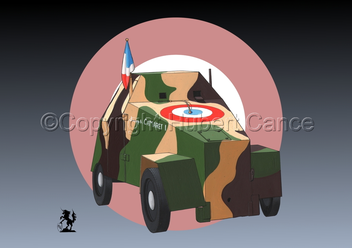 Simca 5 Blindee (Improvised Armored Car) (Roundel) (large view)