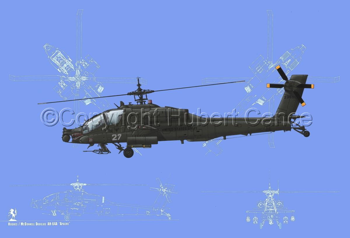 """Hughes AH-64A """"Apache"""" (Blueprint #2) (large view)"""