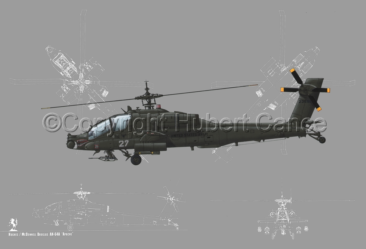 """Hughes AH-64A """"Apache"""" (Blueprint #4) (large view)"""