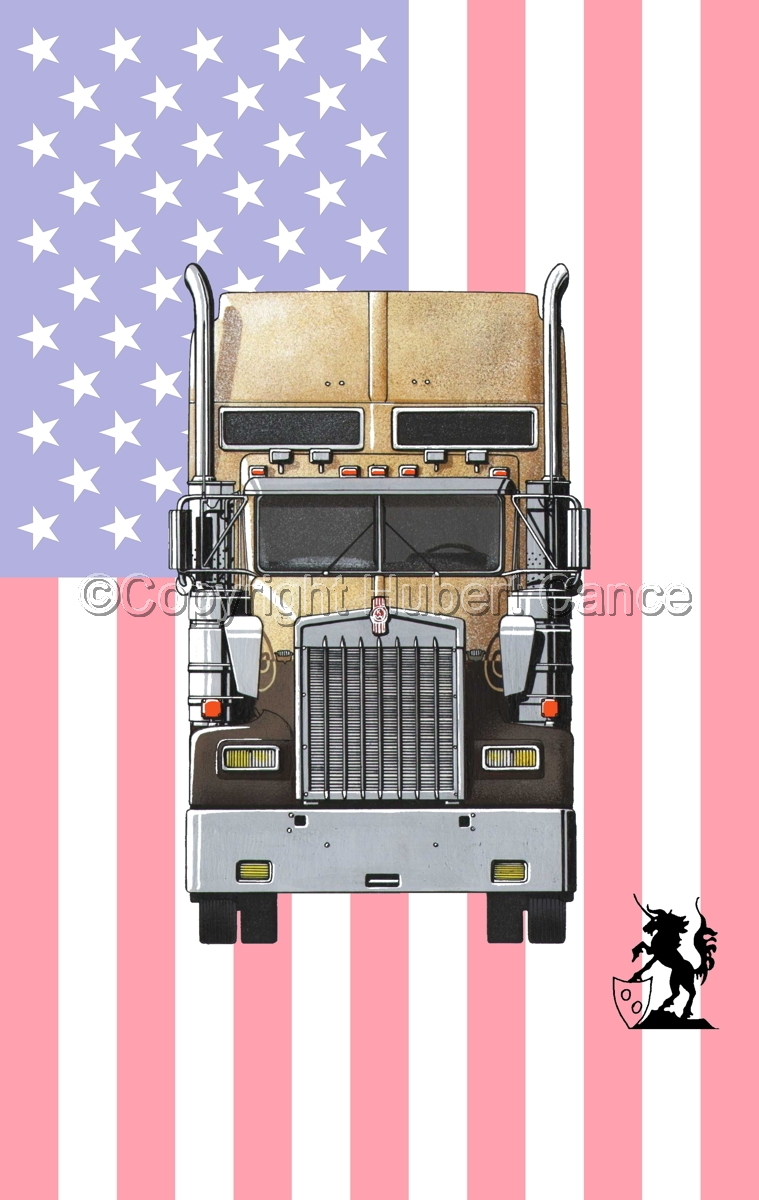 Kenworth W900L (Front View) (Flag #1) (large view)