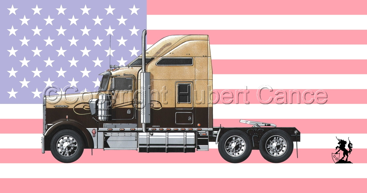 Kenworth W900L (Side View) (Flag #1) (large view)