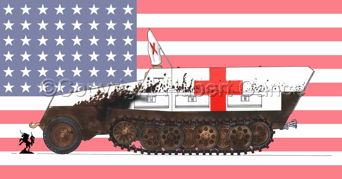 SdKfz.251/8 Ausf.D Mittlerer Krankenpanzerwagen (Flag #1) (large view)