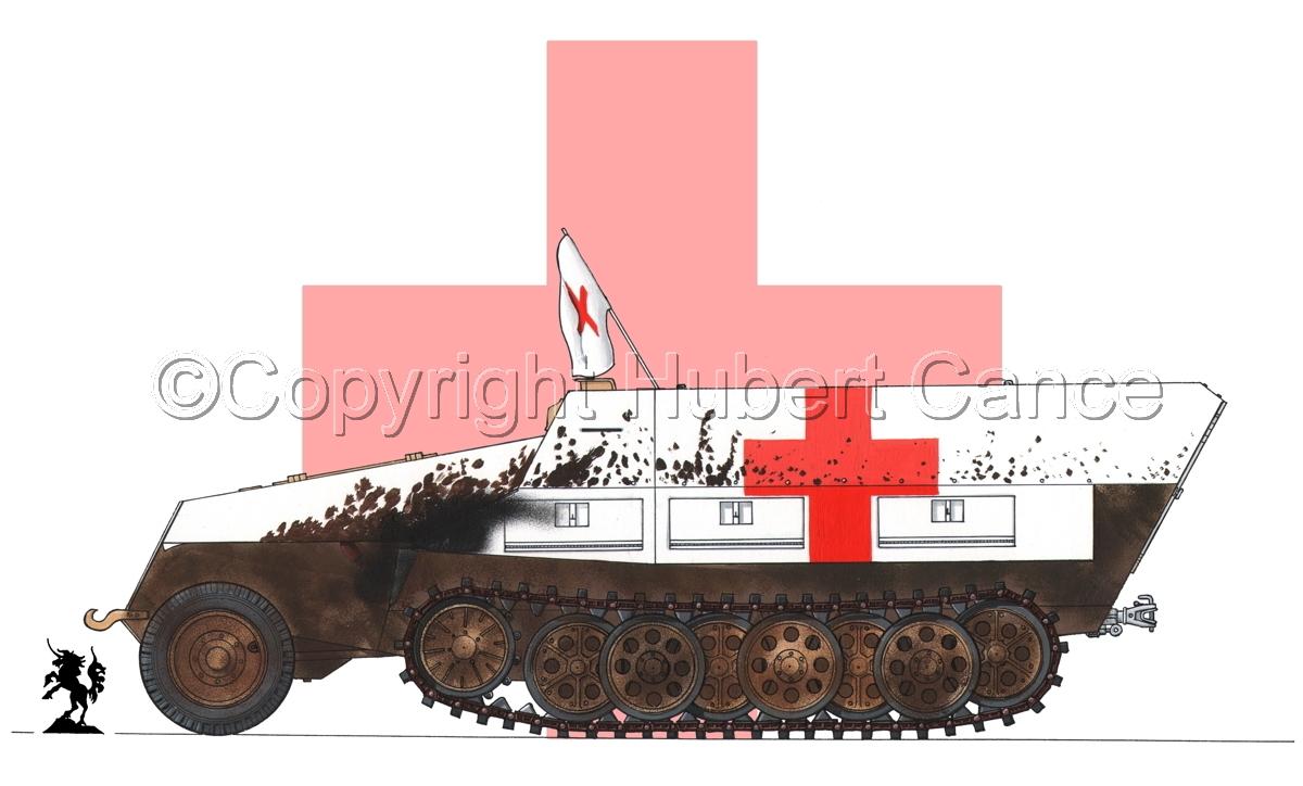 SdKfz.251/8 Ausf.D Mittlerer Krankenpanzerwagen (Flag #2) (large view)