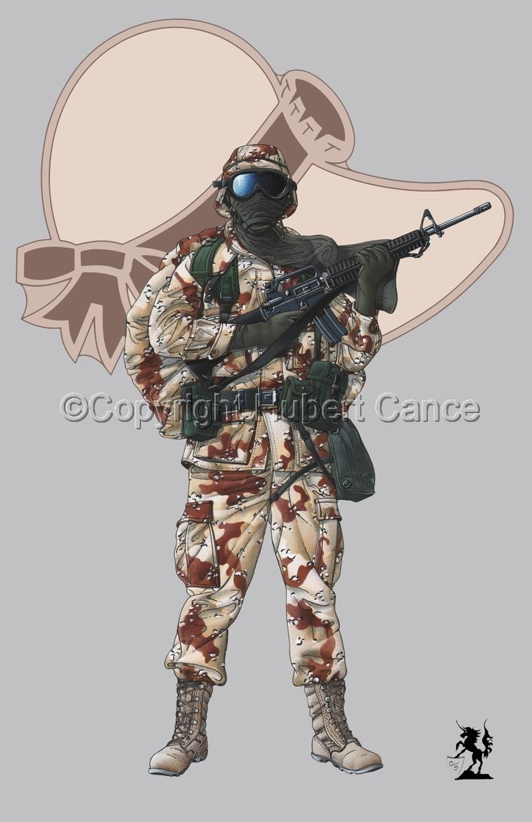 US GI in Iraq (Gulf War 1) (Insignia #8.2) (large view)