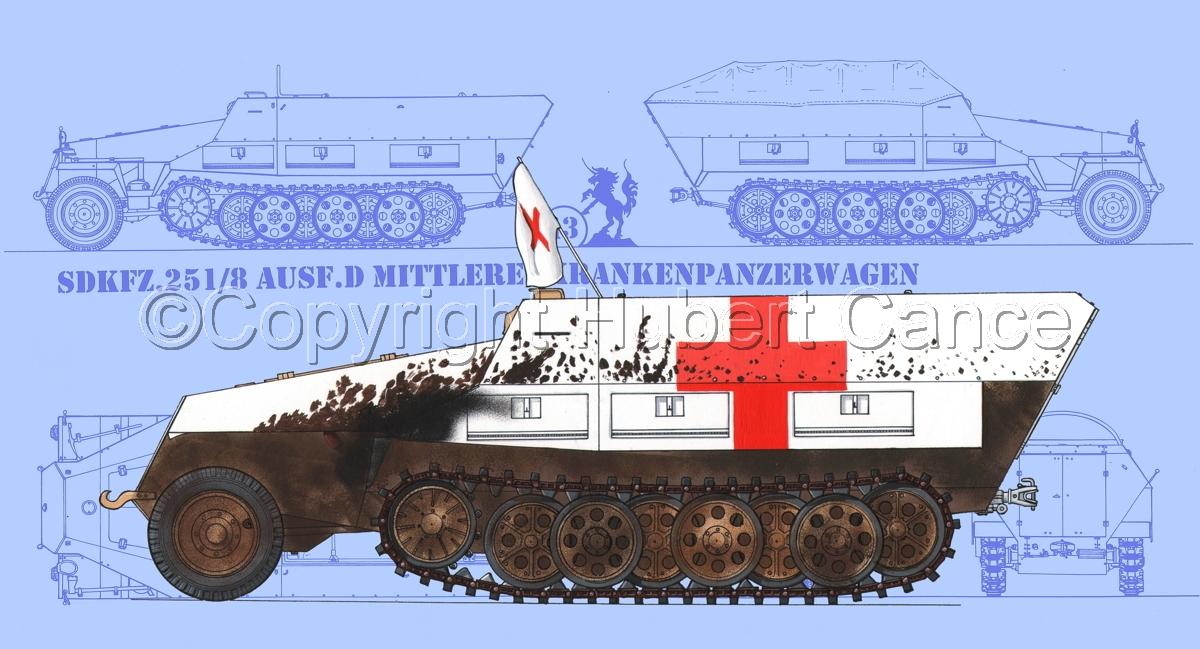 SdKfz.251/8 Ausf.D Mittlerer Krankenpanzerwagen (Blueprint #1) (large view)