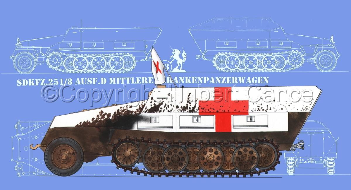 SdKfz.251/8 Ausf.D Mittlerer Krankenpanzerwagen (Blueprint #2) (large view)