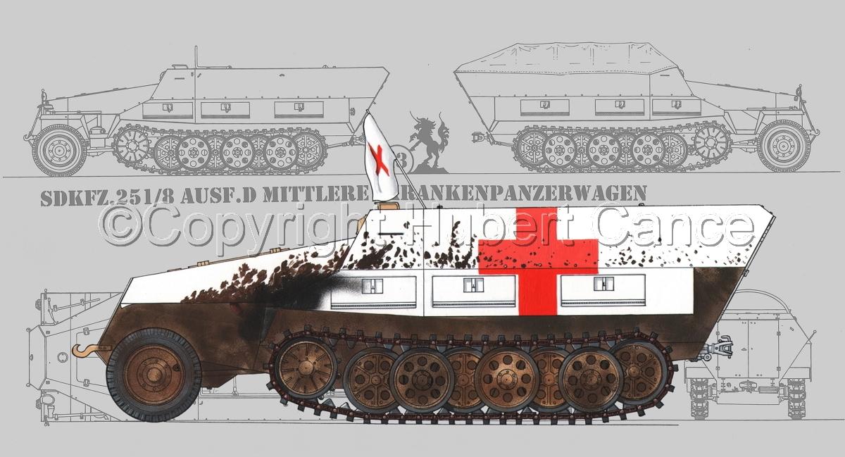SdKfz.251/8 Ausf.D Mittlerer Krankenpanzerwagen (Blueprint #3) (large view)