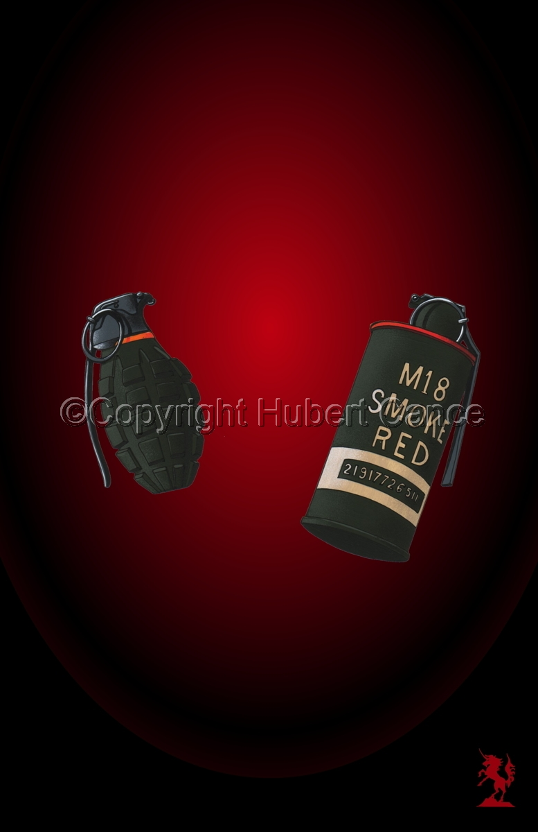 US Mk.II Defensive and US M18 Red Smoke Grenades #4 (large view)