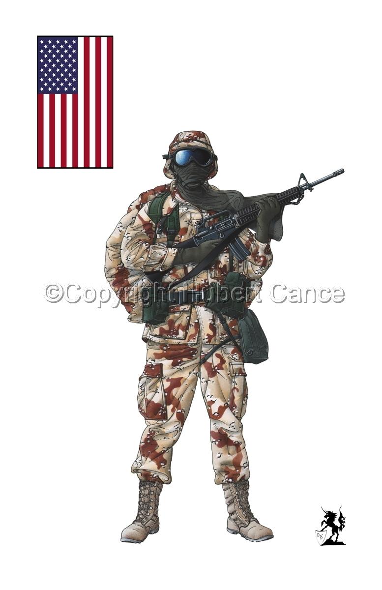 US GI in Iraq (Gulf War 1) (Flag #1.1.1) (large view)