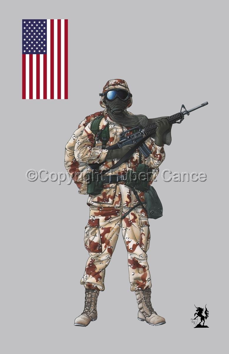 US GI in Iraq (Gulf War 1) (Flag #1.1.2) (large view)