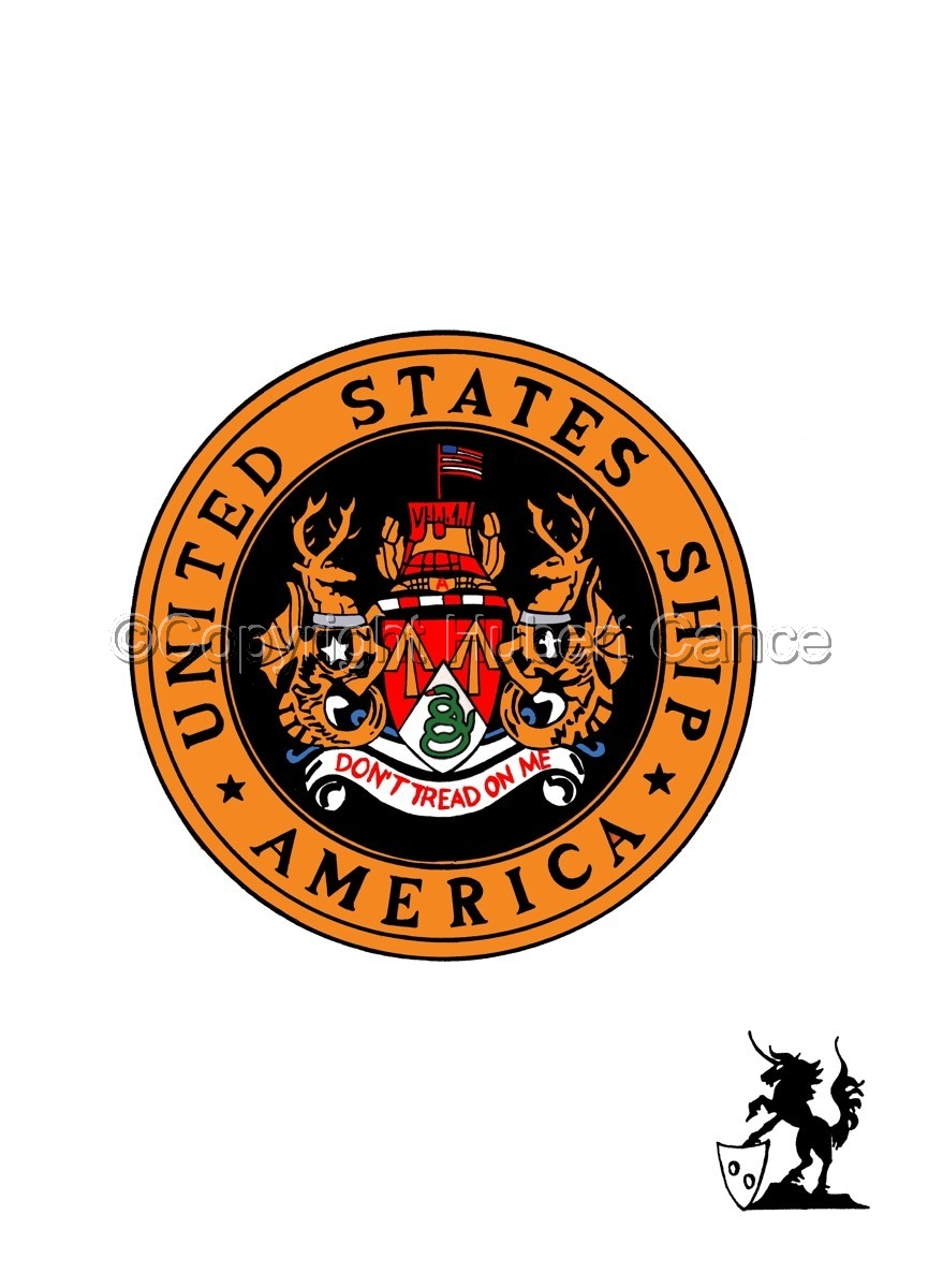 "Sticker: USS ""America"" seal (large view)"
