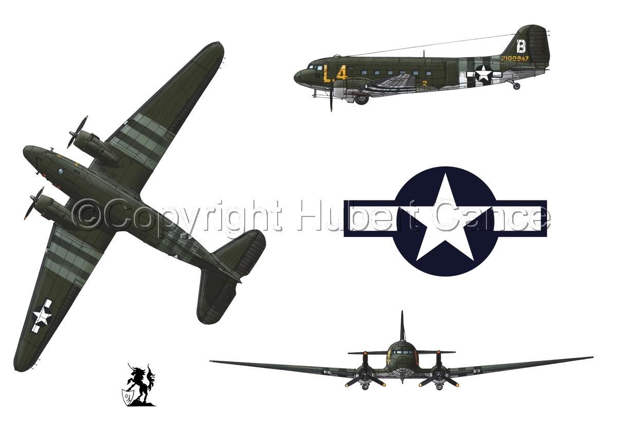 """Douglas C-47 """"Skytrain"""" (Roundel #1.1) (large view)"""