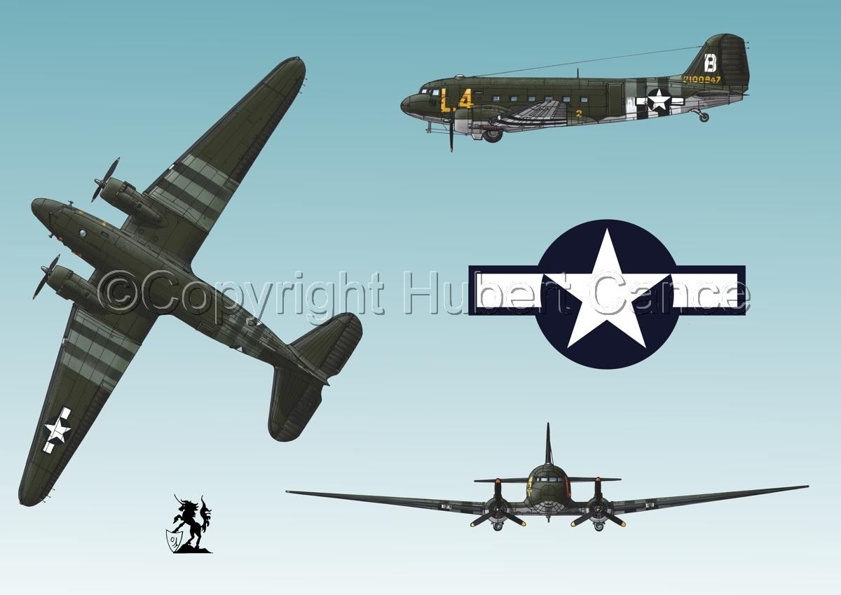 """Douglas C-47 """"Skytrain"""" (Roundel #1.3) (large view)"""