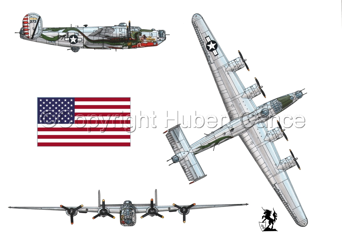 """Consolidated B-24J-190 """"Liberator"""" (Flag #1.1) (large view)"""
