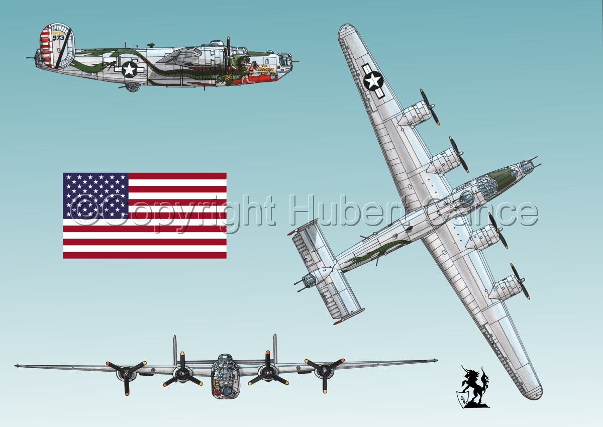 """Consolidated B-24J-190 """"Liberator"""" (Flag #1.3) (large view)"""
