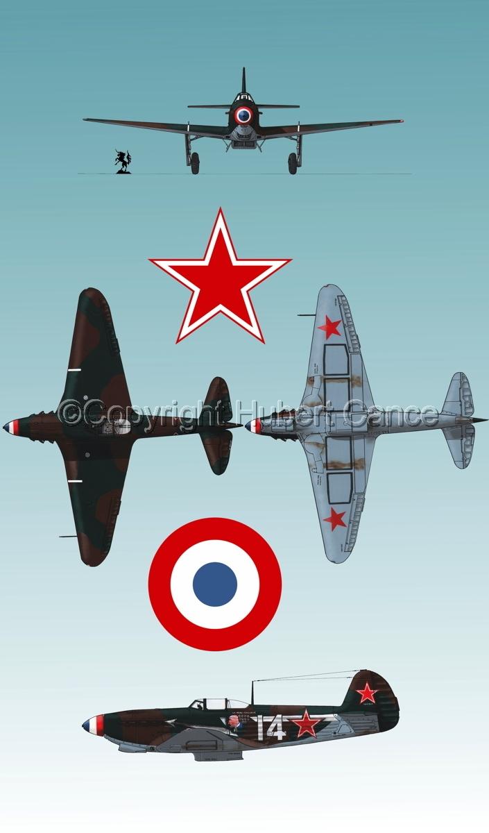 """Yakovlev Yak-9D"" 4-Views (Roundel  #4.3) (large view)"