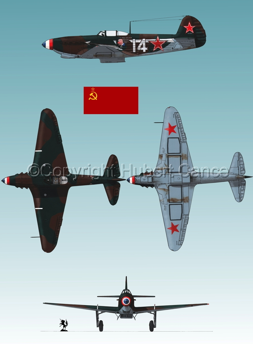 """Yakovlev Yak-9D"" 4-Views (Flag  #1.3) (large view)"