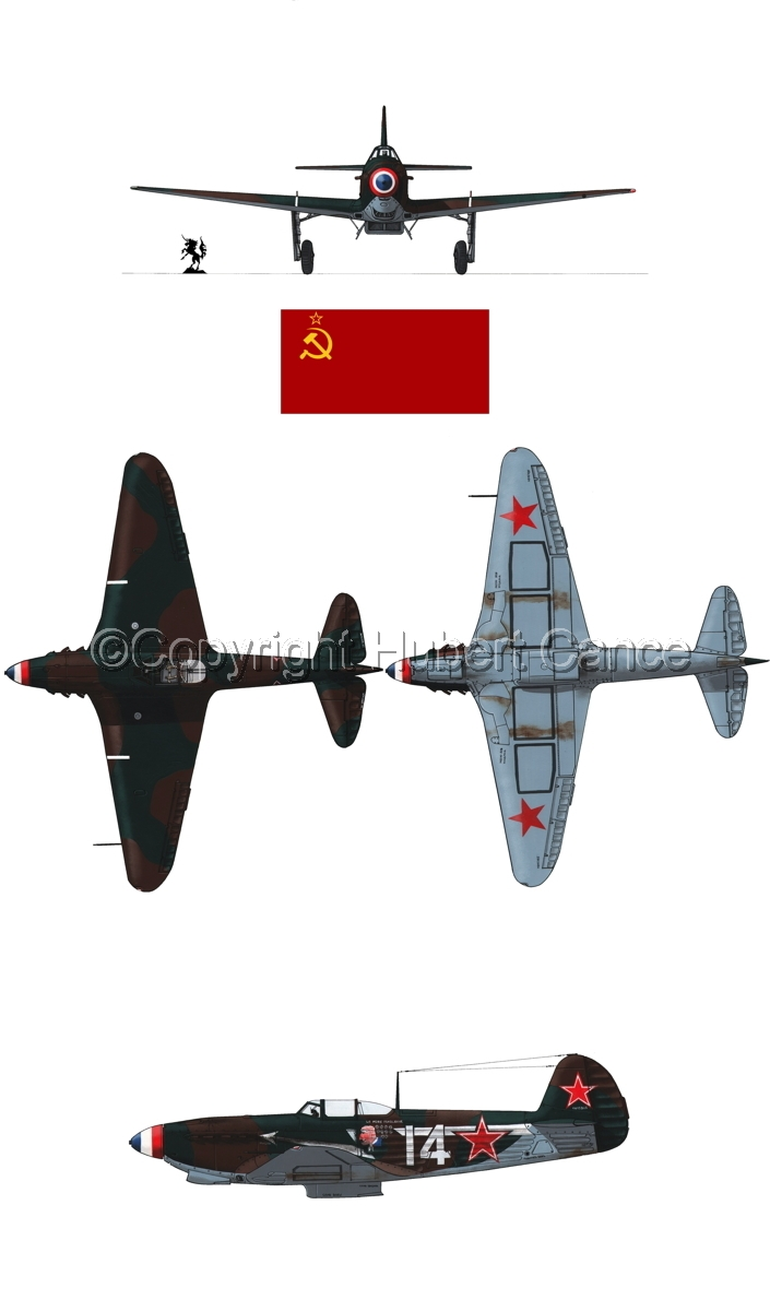 """Yakovlev Yak-9D"" 4-Views (Flag  #2.1) (large view)"