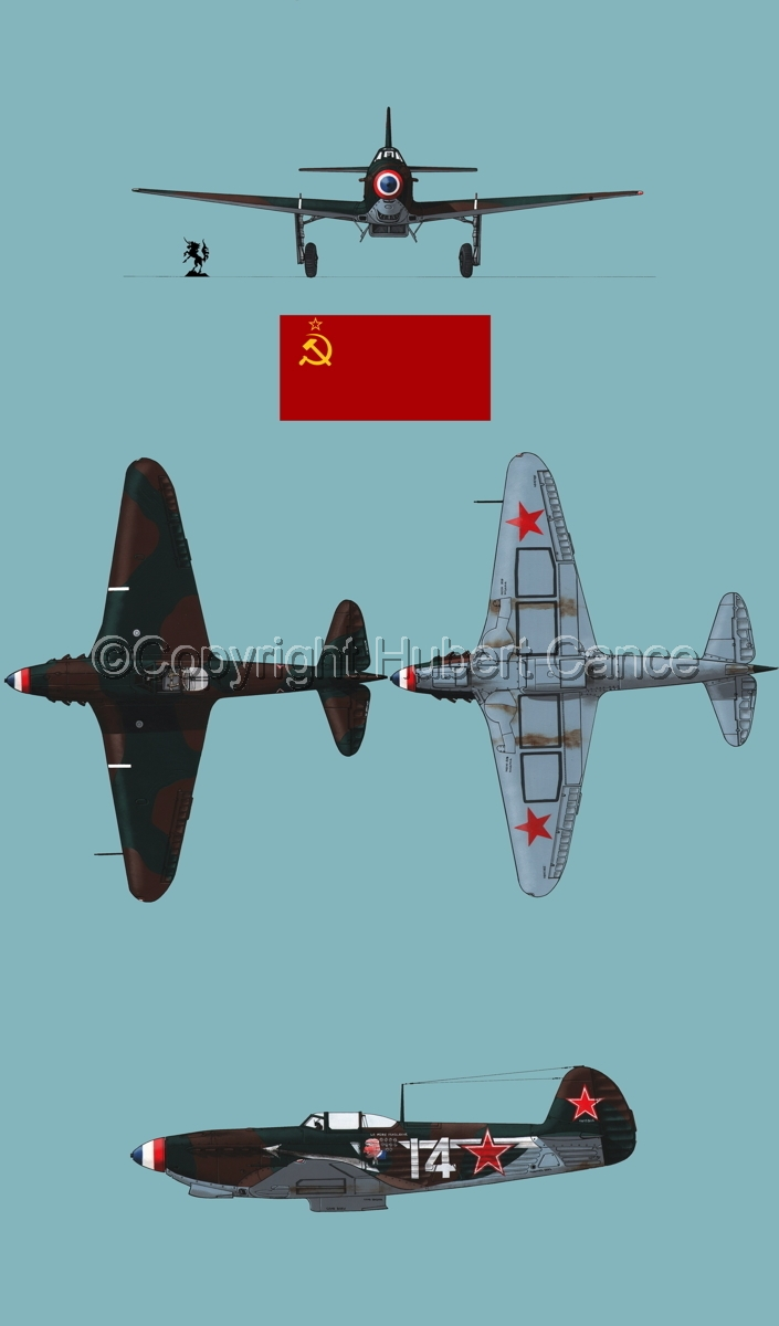 """Yakovlev Yak-9D"" 4-Views (Flag  #2.2) (large view)"