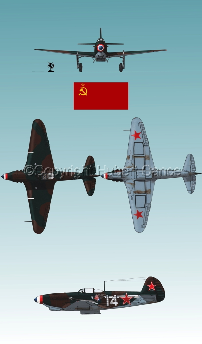 """Yakovlev Yak-9D"" 4-Views (Flag  #2.3) (large view)"