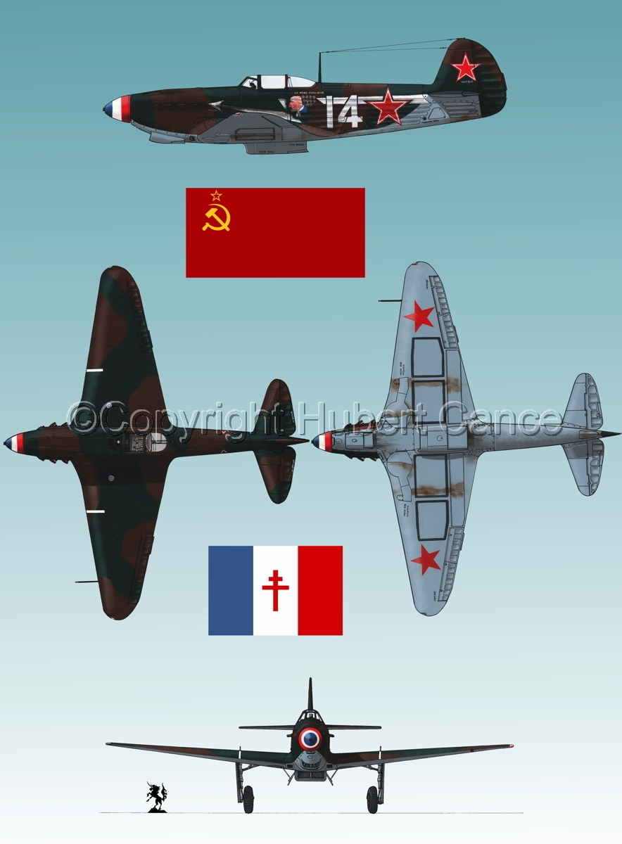 """Yakovlev Yak-9D"" 4-Views (Flag  #3.3) (large view)"