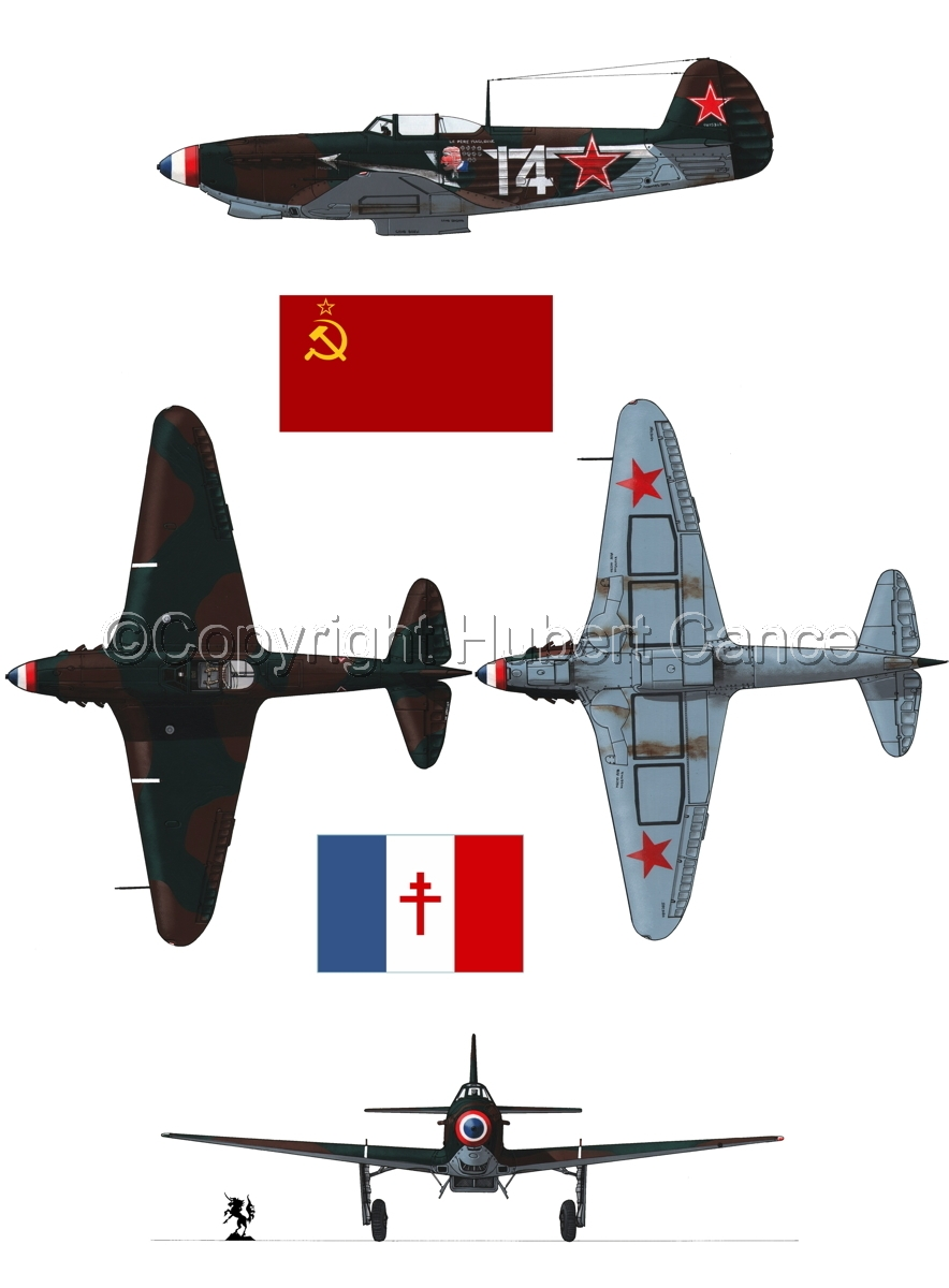 """Yakovlev Yak-9D"" 4-Views (Flag  #3.1) (large view)"