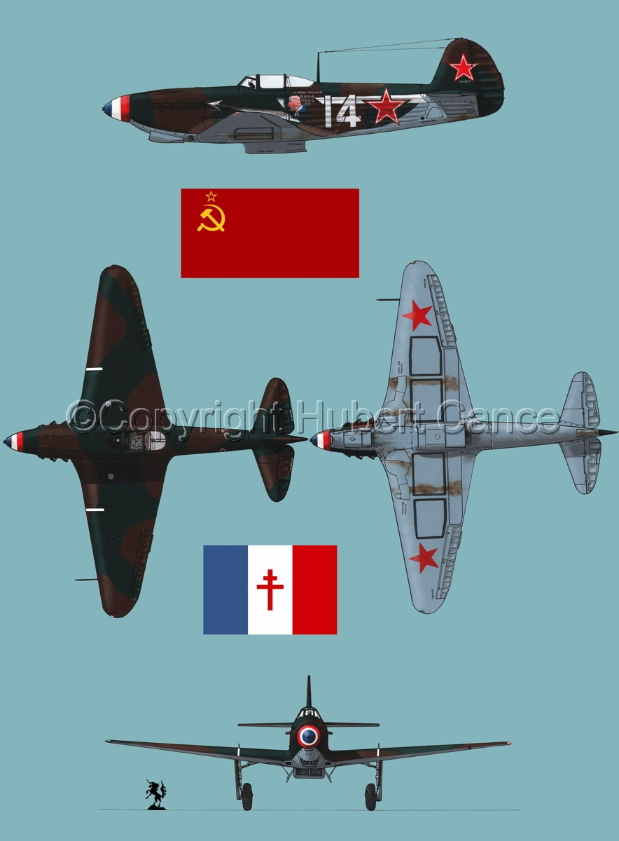 """Yakovlev Yak-9D"" 4-Views (Flag  #3.2) (large view)"