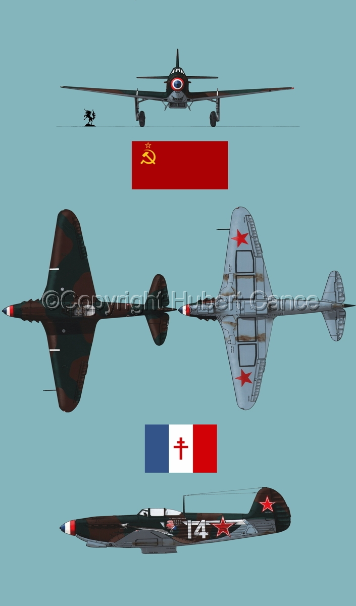 """Yakovlev Yak-9D"" 4-Views (Flag  #4.2) (large view)"