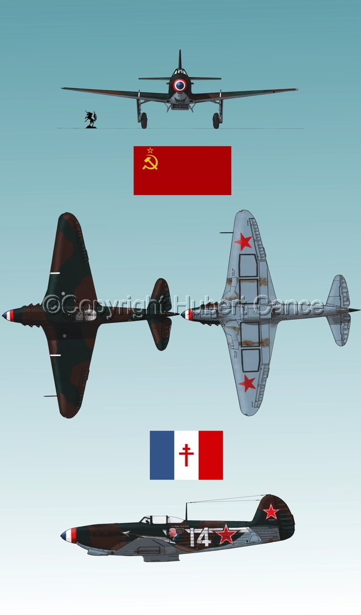 """Yakovlev Yak-9D"" 4-Views (Flag  #4.3) (large view)"