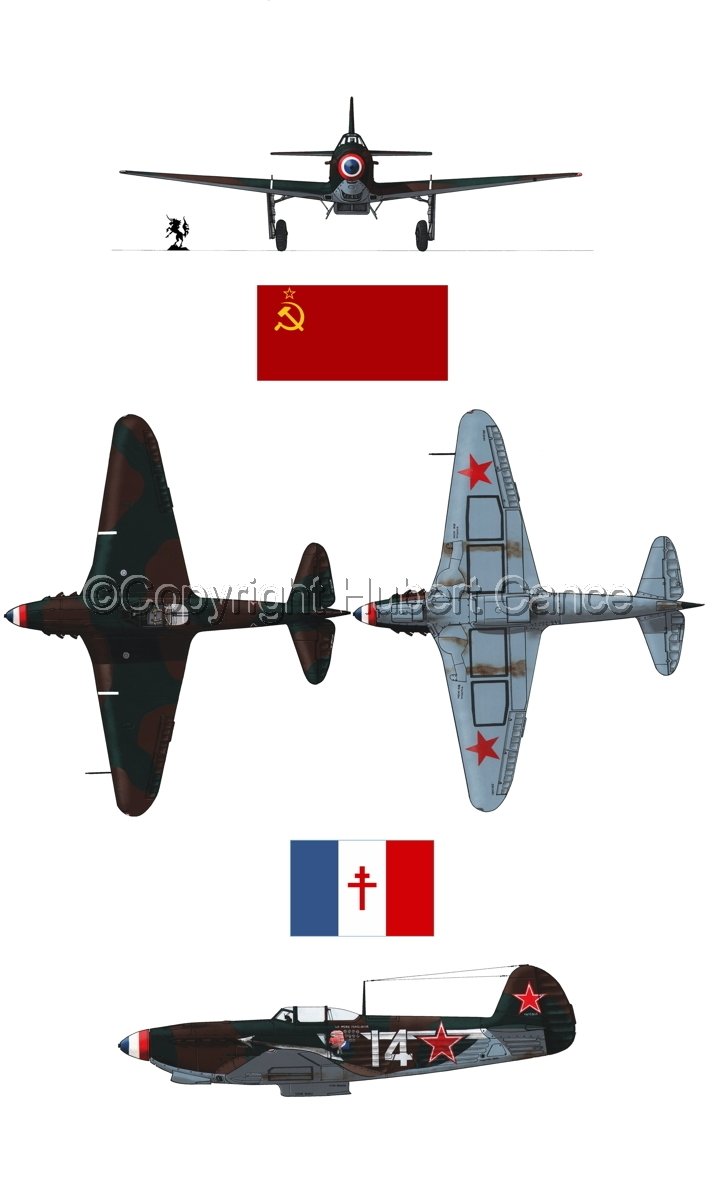 """Yakovlev Yak-9D"" 4-Views (Flag  #4.1) (large view)"