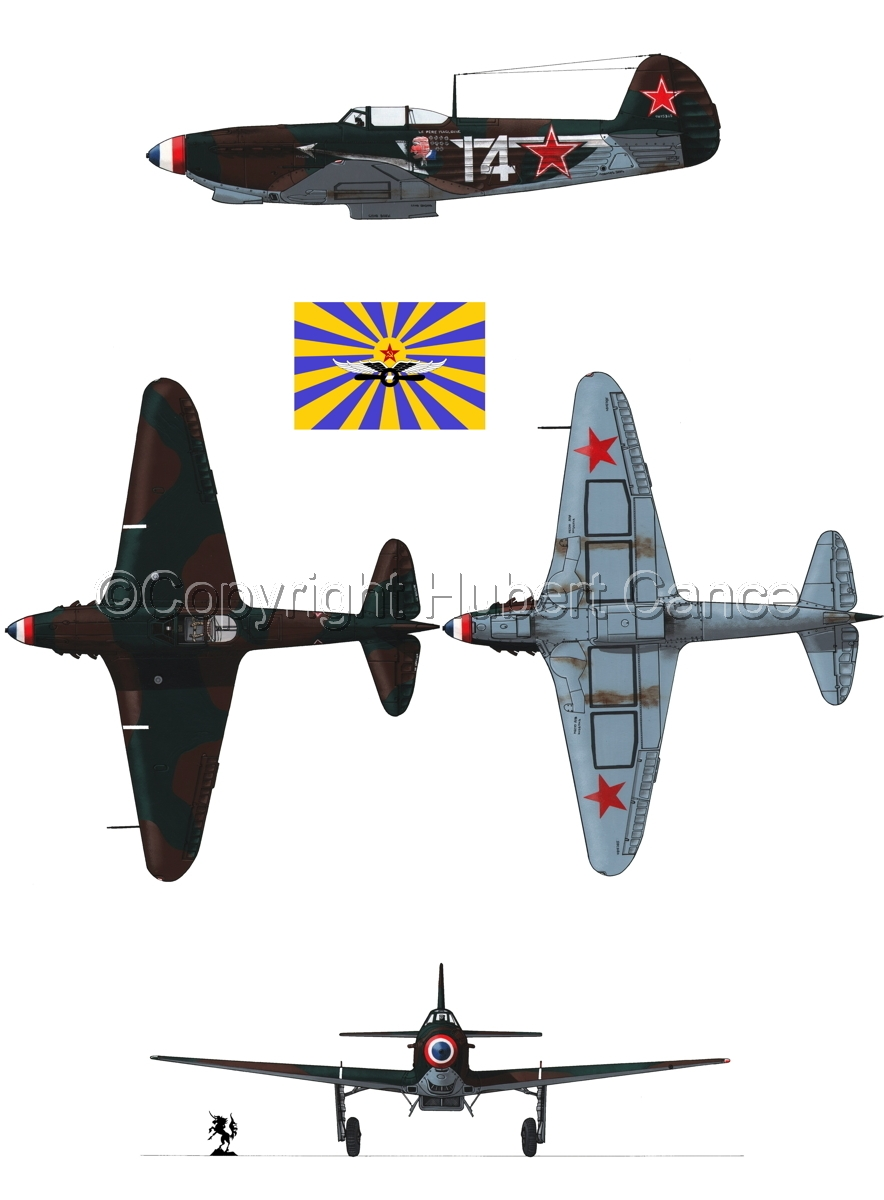 """Yakovlev Yak-9D"" 4-Views (Flag  #5.1) (large view)"