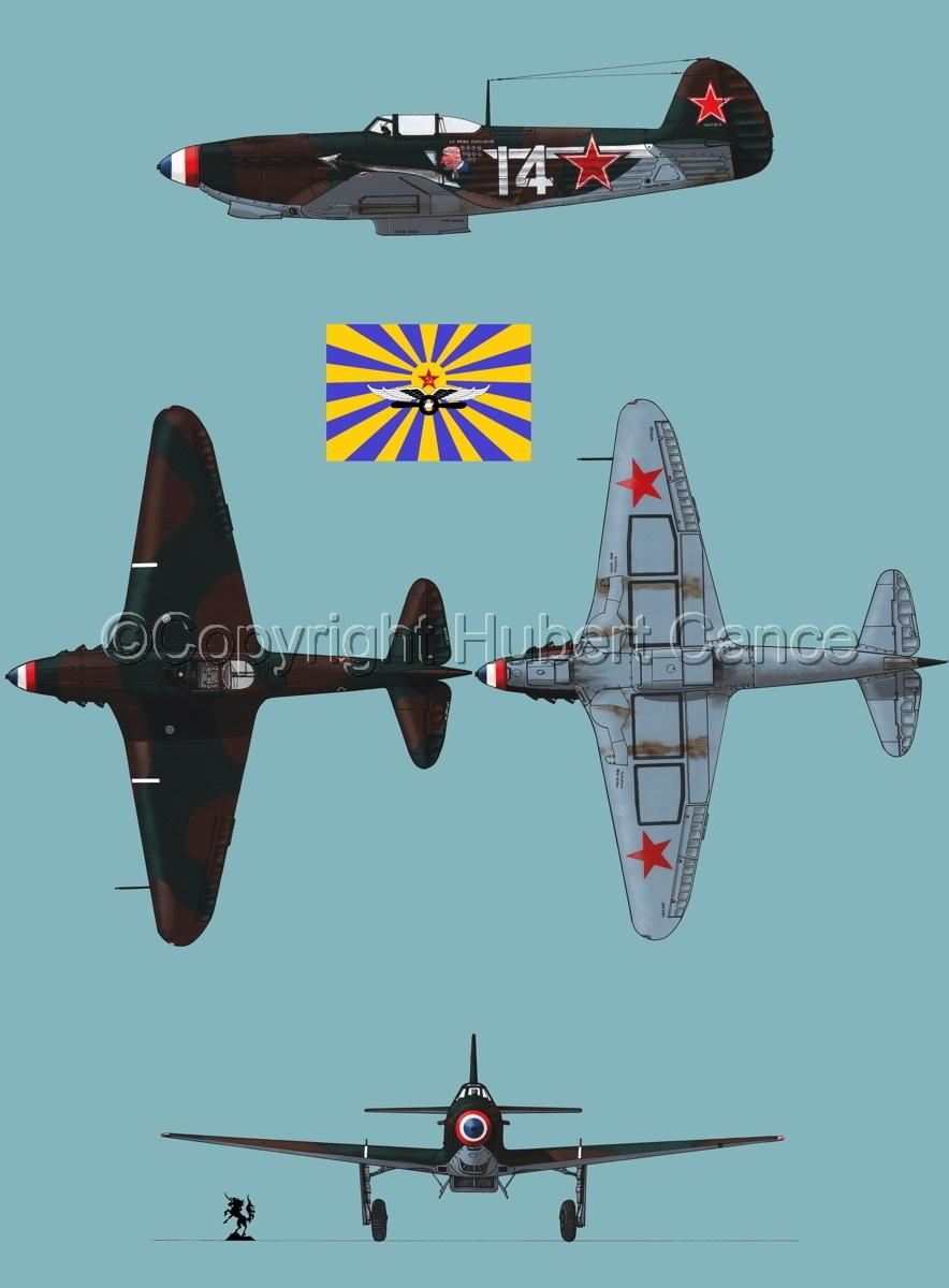 """Yakovlev Yak-9D"" 4-Views (Flag  #5.2) (large view)"