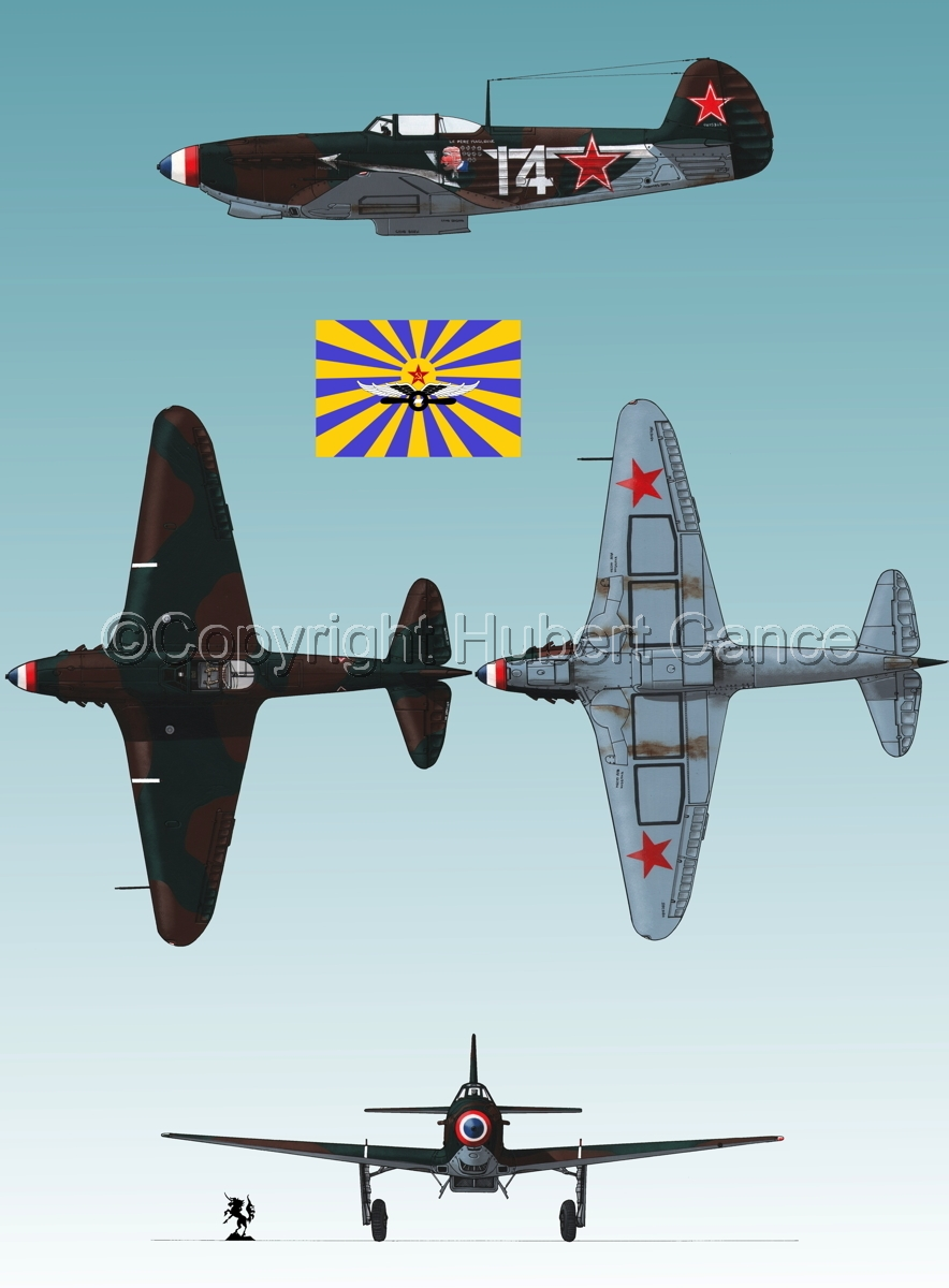 """Yakovlev Yak-9D"" 4-Views (Flag  #5.3) (large view)"