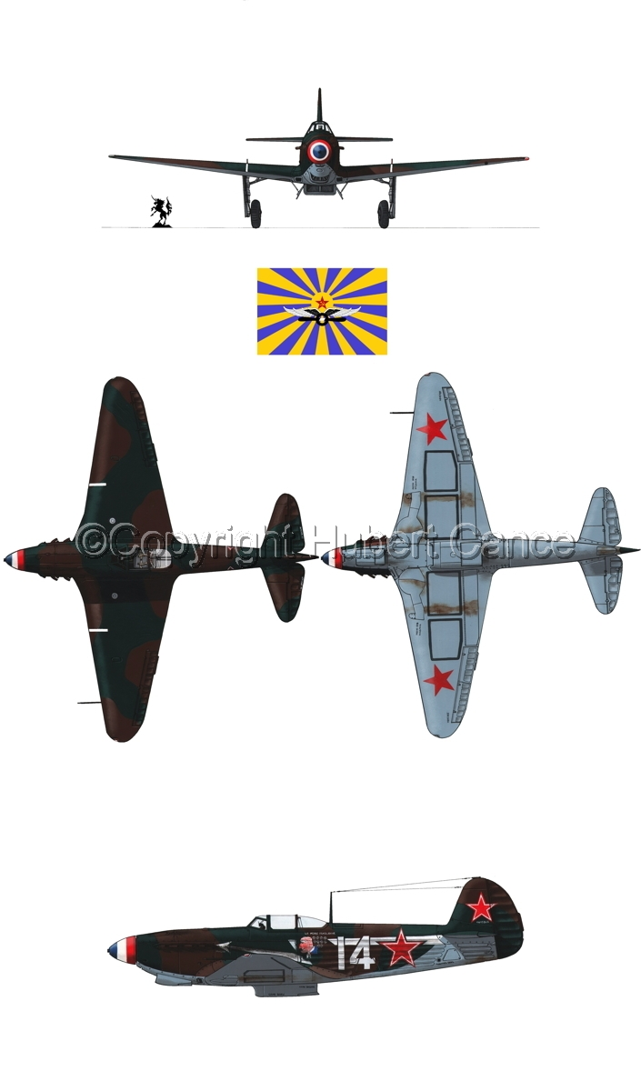 """Yakovlev Yak-9D"" 4-Views (Flag  #6.1) (large view)"