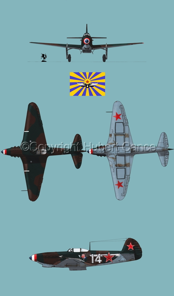 """Yakovlev Yak-9D"" 4-Views (Flag  #6.2) (large view)"